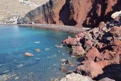 Santorini - het Rode strand Stock Afbeelding