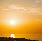 In santorini hill    greece sunset and the sky mediterranean red Royalty Free Stock Photos