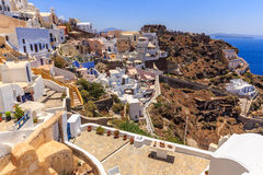 Santorini houses. Old and new part of santorini Oia stock images