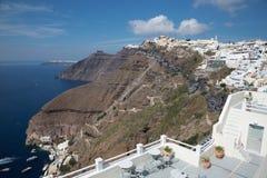 Santorini - il Fira a crepuscolo di mattina e al Firostefani Fotografia Stock Libera da Diritti
