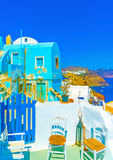 In Santorini-Insel in Griechenland stockfoto