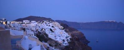 Santorini-Insel-Lichter Stockbilder