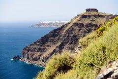 Santorini island with caldera on Aegean Sea, Greece Stock Photography