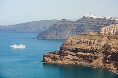 Santorini island, with caldera and cruise ship on Aegean Sea, Greece Stock Images