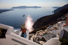 Santorini Island, caldera  view, city Thira Fira. Santorini Island, caldera view, city Thira Fira, Greece Royalty Free Stock Photography