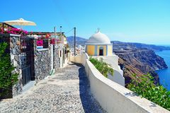 Santorini island clifftop alley Greece Royalty Free Stock Images