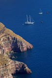 Santorini island with coast in Greece Stock Images