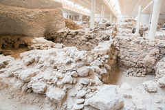 Santorini island,Crete,Greece. Ruins and archaeological site Royalty Free Stock Photos