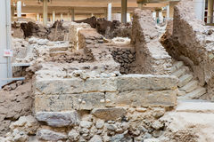Santorini island,Crete,Greece. Ruins and archaeological site in Fira. Town Stock Image