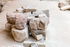 Santorini island,Crete,Greece. Ruins and archaeological site in Fira. Town Stock Photography
