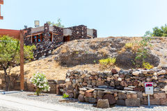 Santorini island,Crete,Greece. Ruins and archaeological site in Fira. Town Stock Photos