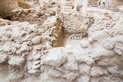 Santorini island,Crete,Greece. Ruins and archaeological site in Fira. Town Royalty Free Stock Image