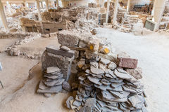 Santorini island,Crete,Greece. Ruins and archaeological site Royalty Free Stock Photo