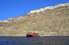Santorini island and ferry Royalty Free Stock Photo