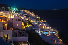 Santorini island Fira city by night royalty free stock photo