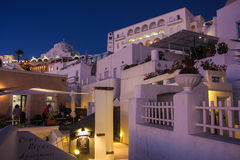 Santorini island Fira city by night stock image