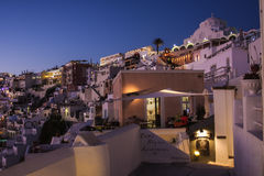 Santorini island Fira city by night royalty free stock images