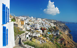 Santorini island, Fira town. Beautiful views of Santorini island, Fira town Stock Images