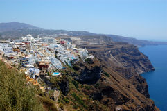 Santorini island  fira view. Picture of fira village in greek islands, santorini cycladic islands, greece Royalty Free Stock Image