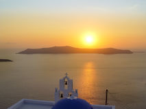 Santorini island with Firostefani Church against the sunset Stock Photos