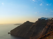 Santorini island with Firostefani Church against the sunset Stock Photography