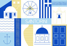 Santorini island flat and linear illustration. Royalty Free Stock Images