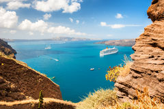 Santorini island, Greece. Beautiful summer landscape, sea view. Royalty Free Stock Photo