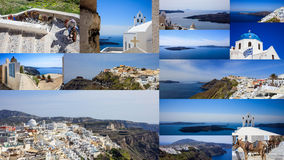Santorini island, Greece - Fira town collage Royalty Free Stock Images