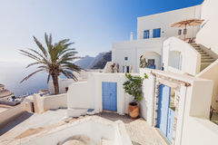 Santorini Island. Greece. Fira. White buildings, white church. Royalty Free Stock Photography