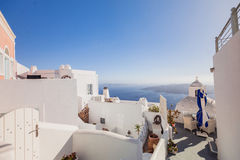 Santorini Island. Greece. Fira. White buildings, white church. Royalty Free Stock Photos