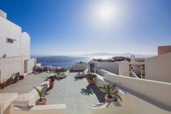 Santorini Island. Greece. Fira. White buildings, white church. Royalty Free Stock Photos