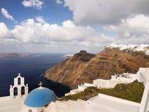 Santorini island, Greece. Hotel terrace, churches  and sea view. Travel, Vacation and Hospitality - Santorini island Stock Photography