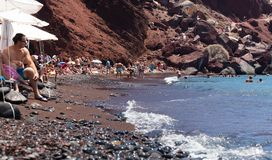 Beautiful Red beach on the Greek Island of Santorini. stock photography