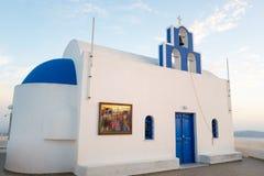 Santorini island. Santorini, Greece - October 17, 2015: Imerovigli, a traditional church on the caldera pathway Stock Photos