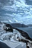 Santorini island, Greece. Oia, Fira town. Traditional and famous houses and churches over the Caldera Royalty Free Stock Photography