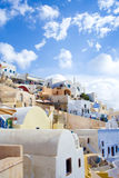 Santorini island, Greece. Oia, Fira town. Traditional and famous houses and churches over the Caldera Stock Photography