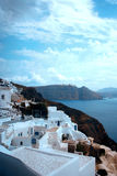 Santorini island, Greece. Oia, Fira town. Traditional and famous houses and churches over the Caldera Royalty Free Stock Image