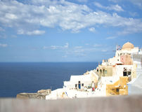 Santorini island, Greece. Oia, Fira town. Traditional and famous houses and churches over the Caldera Stock Photo