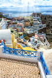 Santorini island, Greece. Oia, Fira town. Traditional and famous houses and churches over the Caldera Stock Images