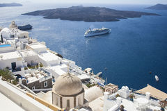 Santorini island, Greece. Oia, Fira town. Traditional and famous houses and churches over the Caldera Stock Image