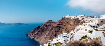 Santorini island in Greece, Oia village and caldera, panorama Stock Photography