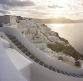 Santorini island in Greece, Oia village, day after the storm Royalty Free Stock Photography
