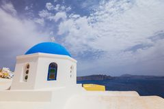 Santorini Island. Greece. Oia. White clay, white buildings. Stock Photos