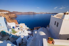 Santorini Island. Greece. Oia. White clay, white buildings. Stock Image