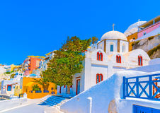In Santorini island in Greece. Old orthdox white church in Fira the capital of Santorini island in Greece Royalty Free Stock Images