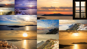 Santorini island, Greece - Sunset at Fira village. Collage Stock Photography