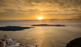 Santorini island, Greece - Sunset over Aegean sea Royalty Free Stock Image