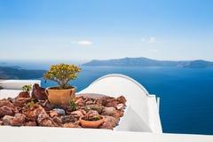 Santorini island, Greece. White architecture on Santorini island, Greece. Beautiful landscape with sea view Royalty Free Stock Photos