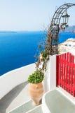 Santorini island, Greece. White architecture on Santorini island, Greece. Beautiful landscape, sea view Royalty Free Stock Photography