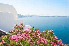 Santorini island, Greece. White architecture on Santorini island, Greece. Beautiful landscape, sea view Stock Images